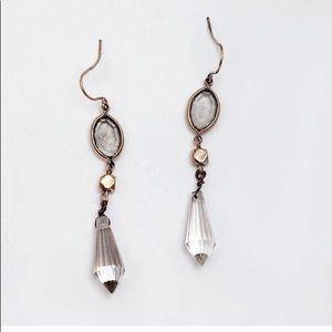 Hanging Water Drop Crystal Dangles  Earrings Gold